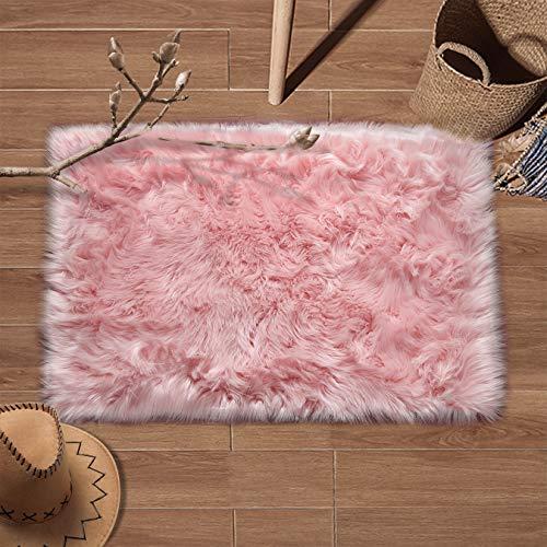 YJ.GWL Super Soft Faux Fur Area Rug (2'x3') for Bedroom Sofa Living Room Fluffy Bedside Rugs Home Decor, Pink Rectangle