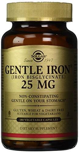 Iron Supplements - Solgar - Gentle Iron, 25 MG, 180 Vegetable Capsules