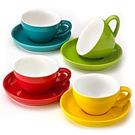 Cappuccino Cups and Saucers, Set of 4 Assorted Vibrant Colors, Durable Porcelain 8 Ounce Capacity for Specialty Coffee… 12 BEAUTIFUL COLORS; 4 stylish colors in each set; Turquoise Blue, Poppy Red, Lemongrass Green and Sunflower Yellow; cup and saucers are color matched MICROWAVABLE AND DISHWASHER SAFE; convenient and easy care for busy lifestyles; cheerful and colorful coffee cups for everyday use PREMIUM PORCELAIN; crafted with highly durable porcelain; 8-ounce capacity; raised rim saucer with round center indentation to hold your coffee cup