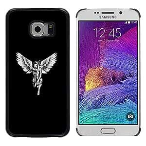 Paccase / Dura PC Caso Funda Carcasa de Protección para - Angel White Black Art Woman Naked Wings - Samsung Galaxy S6 EDGE SM-G925
