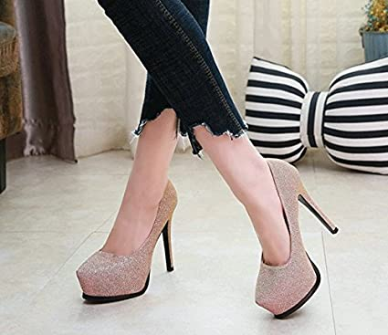 2c1ed1900 MDRW-Lady Elegant Work Leisure Spring Tip Night Shop Sexy Women S Shoes  Shallow Mouth Sequins Banquets Single Shoes Thick Bottom Waterproof  Platform Elegant ...
