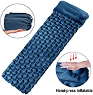 Tobfit Ultralight Inflatable Sleeping Pad with Pillow, Portable Travel Air Mattress for Camping Hiking Backpac