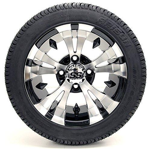"Golf Cart 12″ ""Vampire"" SS Gloss Black and Machined 215/35-12 or 215/50-12 DOT Golf Cart Tire Combo – – Set of 4 (215/50-12, Standard Lugs)"