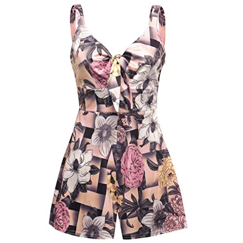 LiLiMeng 2019 New Women Summer Strap Floral Printed Sleeveless V-Neck Bow Knot Ruched Shorts Jumpsuit Playsuit Party Clothes Pink