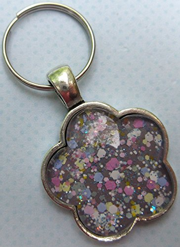 Antiqued Silver-Tone Purple Pastel Mix Glitter Glass Flower (Holographic Keychain)