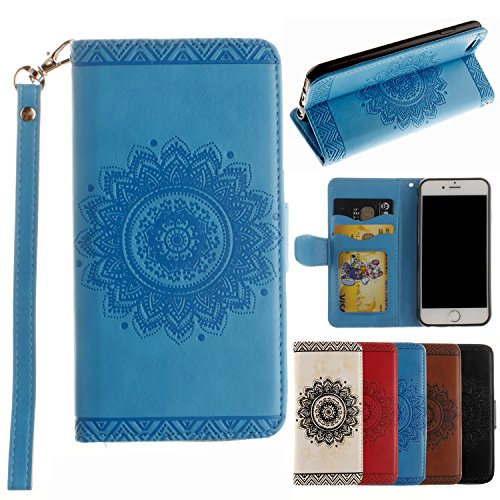 iPhone 6S Case, iPhone 6 Case, Alkax Premium PU Leather Wallet Wrist Strap with Flip Folio Stand Card Slots & Flower Design Cover for Apple iPhone 6S + 1 Stylus Pen (Blue) (Harley Davidson Bling Parts)