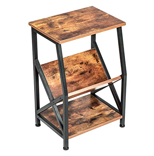 VINEXT Nightstand, Rustic End Table for Living Room, Bedroom, Side Table with 3-TierStorage Shelf, Sturdy and Easy Assembly, Vintage Brown