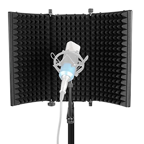 Neewer Escudo Acústico de Aislamiento para Micrófono : Tri-Pliegues Estudio Paneles de Espuma Absorbente de Sonido para...