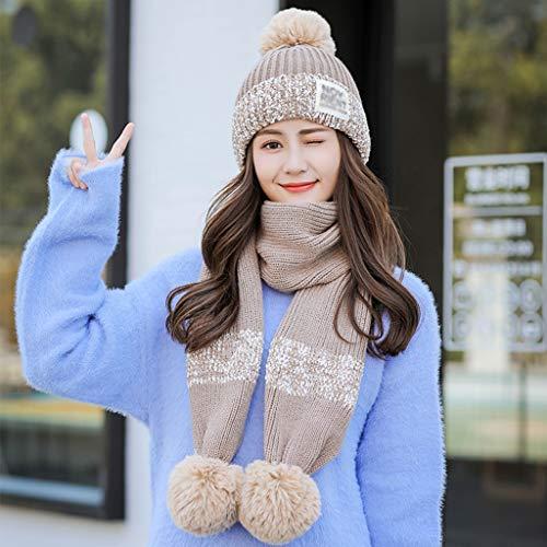 sombrero Punto Bufanda Sombrero Gorras Dulce Tejido color Invierno De Al Tejida Libre Beanie Calentar B Lindo Aire C Moda Gorros Gorrita Djmzab UIwqxTZZ