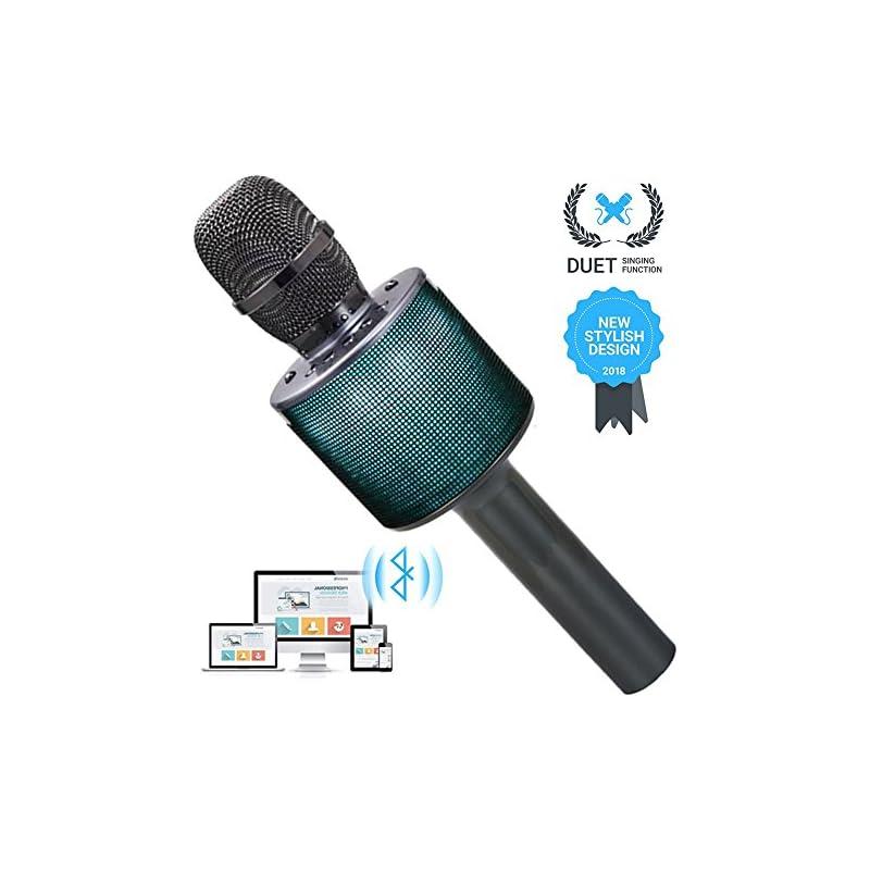 Wireless Bluetooth Karaoke Microphone for Kids Girls Boys Friends Gifts Duet Singing Recording Portable Handheld Karaoke Mic Machine LED Lights for iphone Andriod ipad PC -1Pcs (Titanium Gray)