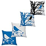 LAZAMYASA Square Cartoon Bird Printed Cushion Cover Cotton Throw Pillow Case Sham Slipover Pillowslip Pillowcase For Home Sofa Couch Chair Back Seat,4PCS,Blue,2424in
