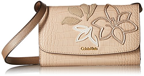 Calvin Klein Logan Exotic Saffiano Applique Leather Crossbody, Bare by Calvin Klein