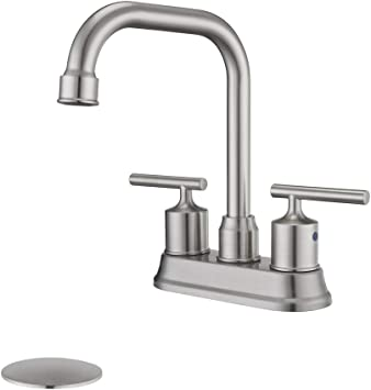 Brushed Nickel Bathroom Faucet with Pop Up Drain Assembly 2 Handle 4-Inch Centerset Vanity Sink Faucet with Swivel Spout