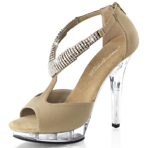 Soft Nubuck Tan Leather Sandals with Rhinestones and Clear 5 Inch Heels Size: 11