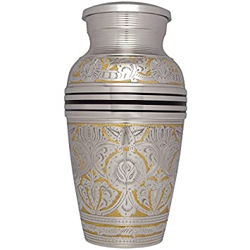 Silver Funeral Urn by Liliane Memorials – Cremation Urn for Human Ashes – Hand Made in Brass – Suitable for Cemetery Burial or Niche – Large Size fits remains of Adults up to 200 lbs – Rimini Model
