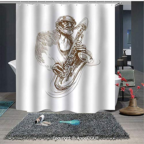 AngelDOU Jazz Music Decor Fashion Styles Printed Shower Curtain Vintage Style Painting Print of Old Native Jazz Man Solo Rocking with Saxophone for Home Hotel Club Bathroom Decoration
