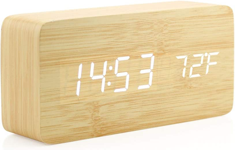 Oct17 Wooden Digital Alarm Clock, Wood Fashion Multi-Function LED Alarm Clock with USB Power Supply, Voice Control, Thermometer - Bamboo