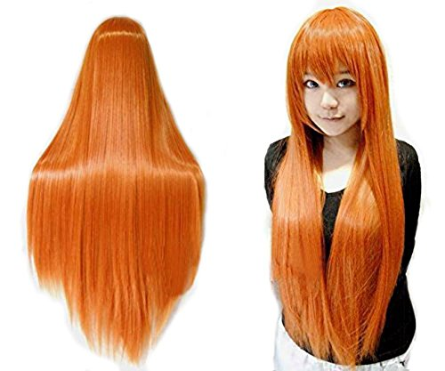 Anogol Vocaloid 80cm Long Straight Wigs Lolita Orange Cosplay Wig Hair Wigs -
