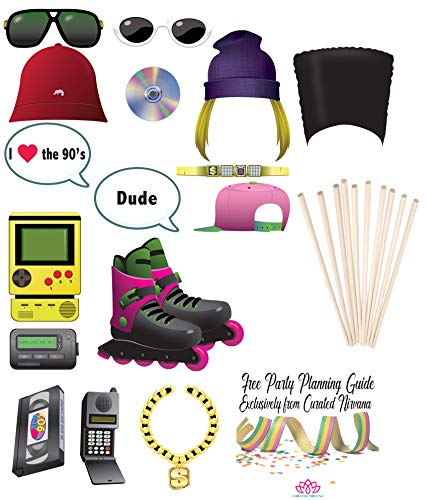 Curated Nirvana I Love the 90s Photo Prop Bundle with Dowels | 16 Count - Double Sided with Different Colors | Great for Themed Parties - Birthday, Work Events, Halloween, -