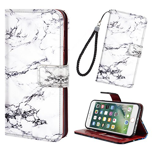 iPhone 5/5S/SE Phone Case Wallet,Premium PU Leather Wallet Flip Protective Case Cover with Card Slots Money Pocket Magnetic Closure & Free Wrist Strap for iPhone 5/5S/SE - Marble Black White ()