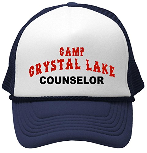 80s Hat Mesh - Crystal Lake Counselor - Funny 80s Horror Movie Mesh Trucker Cap Hat, Navy