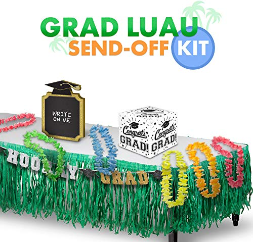 Party City Graduation Luau Send-Off Kit, Includes Floral Leis, a Card Holder, a Grass Table Skirt, and a Glitter Banner]()