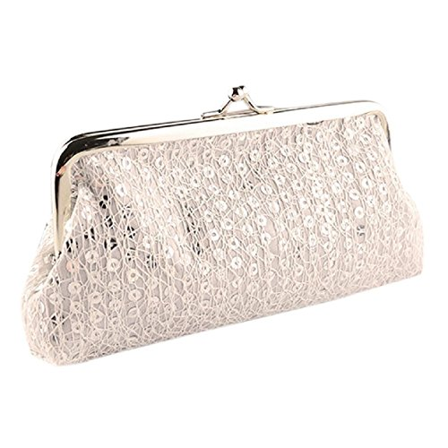 White Hasp Wedding Evening Kemilove Sequins Wallet Handbag Party Clutch Purse Women AqI5v