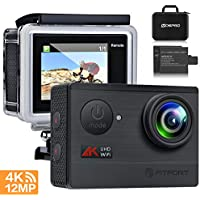 Action Camera 4K WiFi Sports Camera - FITFORT Full HD 12MP 170° Wide Angle Waterproof Sports Camcorder with 2' LCD, 2 Rechargeable 1050mAh Batteries, Free Travel Bag and 19 Accessories Kits