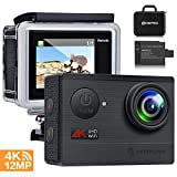 Action Camera 4K WiFi Sports Camera - FITFORT Full HD 12MP 170° Wide Angle Waterproof Sports Camcorder with 2'' LCD, 2 Rechargeable 1050mAh Batteries, Free Travel Bag and 19 Accessories Kits
