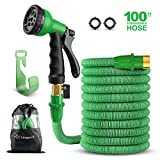 SingPad Garden Hose,100ft Expandable Water Hose, On/Off Valve,3/4'' Solid Brass,Durable, Kink-Free Hose end 8-Pattern Spray Nozzle and Hose Storage Bag (100ft Green)