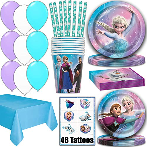 Frozen Party Supplies for 16 - Dinner Plates, Cake Plates, Napkins, Cups, Straws, Tablecover, Balloons, Tattoos - Disney Frozen Theme Birthday Pack Disposable tableware, decorations, Favors ()