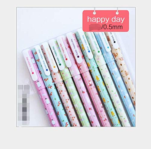 (A set of 10 Fresh and lovely floral watercolor cartoon pen gel pen)