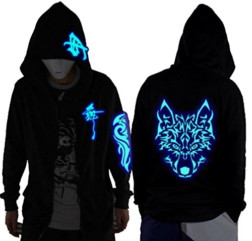 LuckyDM Unisex-Adult/Teens Galaxy Unique Design Hoodie Luminescent Hoody Jacket Glow Lights at Night (L (Asian Size), Blue Wolf Head) (Wolf Adult Sweatshirt)