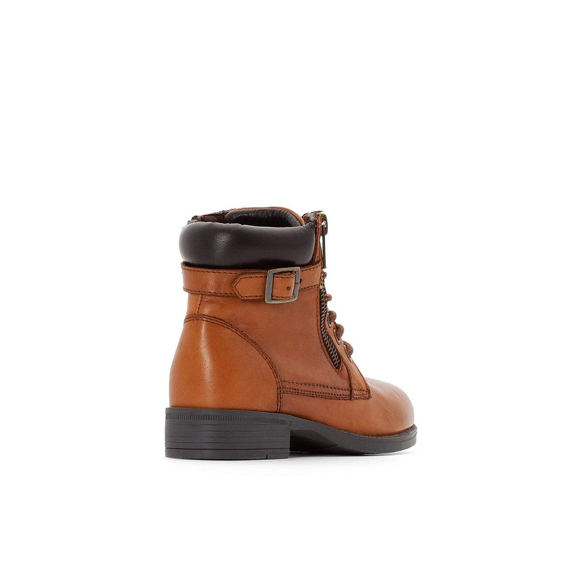 La Redoute Collections Big Girls Leather Zip-Up Ankle Boots With Laces
