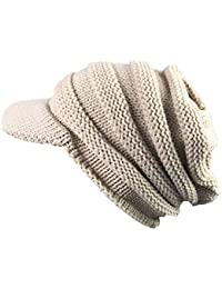Womens Winter Warm Hat Slouchy Chunky Visor Beanie Knitted Baggy Caps b11900b8e575