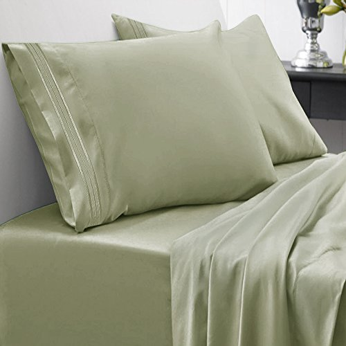 Cal King Olive - Sweet Home Collection 1800 Thread Count Egyptian Quality Brushed Microfiber 4 Piece Deep Pocket Bed Sheet Set, California King, Sage