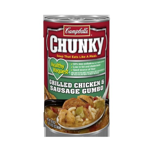 Campbell's, Chunky, Healthy Request, Grilled Chicken & Sausage Gumbo, 18.8oz Can (Pack of 6)