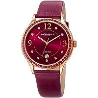 Akribos XXIV Women's Quartz Diamond & Swarovski Crystal Rose-Tone and Purple Leather Strap Watch - AK1011PU
