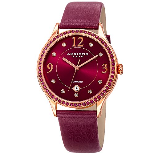 Akribos XXIV Women's Quartz Diamond & Swarovski Crystal Rose-Tone and Purple Leather Strap Watch - AK1011PU