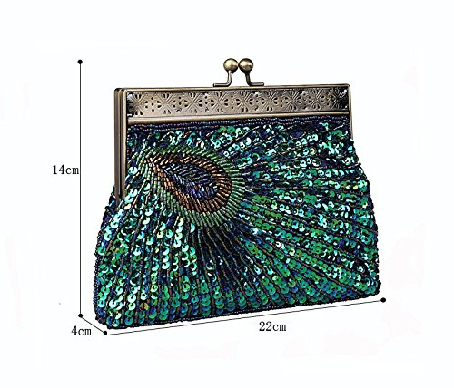 Unusual Teal Purse Peacock Vintage Catching Handbag Sunburst Silver Evening Eye Clutch Sequin Antique Beaded 1tU5pwxq5