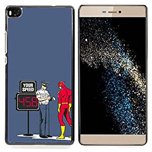 "Qstar Arte & diseño plástico duro Fundas Cover Cubre Hard Case Cover para Huawei Ascend P8 (Not for P8 Lite) (Divertido Perno Superhero flash"")"