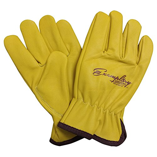 Heavy Duty Goatskin Leather Work Gloves for Men and Women. General Purpose Utility, Driver, Rigger, Safety, and Gardening Gloves (Extra Large, Yellow)