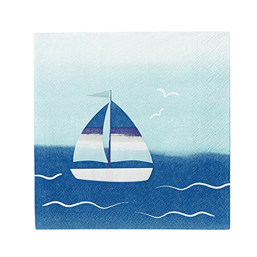 Talking Tables Coastal Paper Napkins with Boat Motif for a Barbeque, Beach or Summer Party, 25cm (20 Pack) COAST-BTNAPKIN