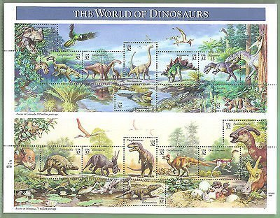 the-world-of-dinosaurs-full-sheet-of-15-x-32-cent-postage-stamps-usa-1997-scott-3136