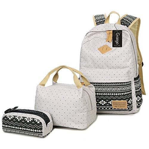 Gazigo Geometry Girls Canvas College Laptop Backpack + Lunch Bag - Buy  Online in Oman.  ff09844dad740