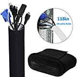 LINCITO Cable Management Sleeve 118'' (3m) Flexible DIY Cuttable Cable Organizer for TV Computer Office Home Entertainment Wire Cover Concealer Wrap with Black & White Side
