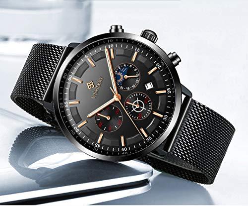 Men's Watches Fashion Analog Quartz Watch Date Business Chronograph Dress Luxury Brand Black Leather Wristwatch Gents Sport Waterproof Wristwatch 17