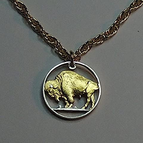 Old U.S. Buffalo nickel- Beautifully Hand Cut out & 2-toned(Uniquely Hand done) Gold on Silver coin Necklaces for women men girls girlfriend boys teen (Gold Buffalo Necklace)