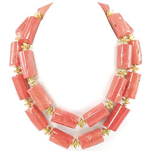 Double strands Orange Coral Tube Silver Tone Necklace 18