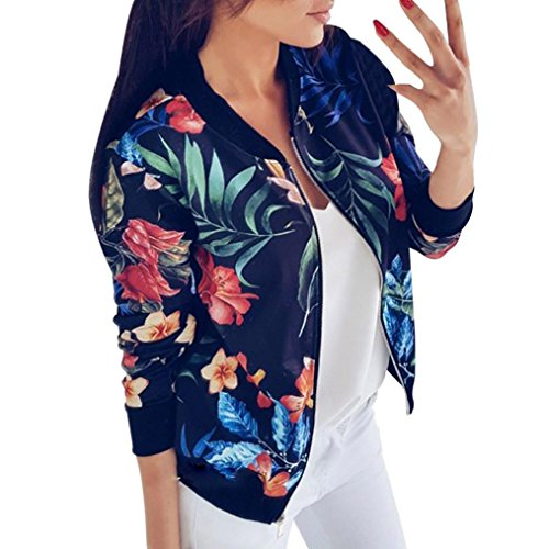 Gillberry Women Stand Collar Long Sleeve Zipper Floral Printed Bomber Jacket (Blue, -